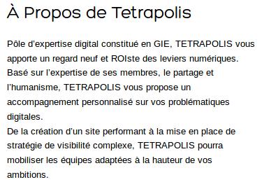 A propos de tetrapolis
